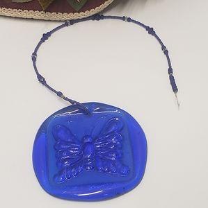 Vintage Blue Glass Butterfly Suncatcher or Decor